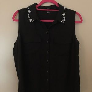 Bejeweled Forever 21 Black Button Down - Size M